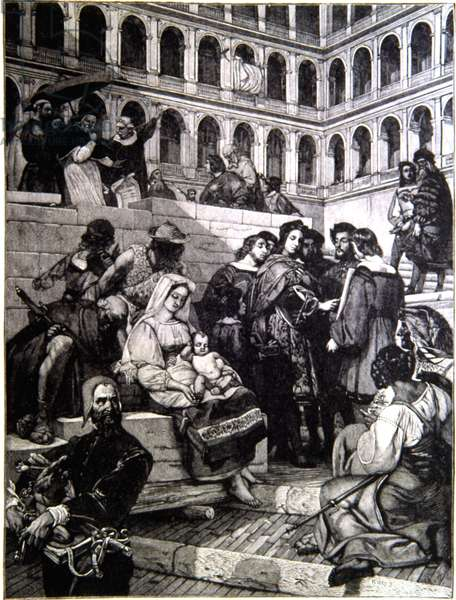 Raphael at the Vatican drawing Mary and Jesus in front of Pope Julius II (1443-1513). Engraving of Painting by Horace Vernet