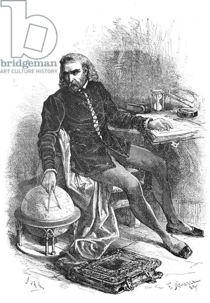 Christopher Columbus in His Study with a Globe, 1883 (engraving)