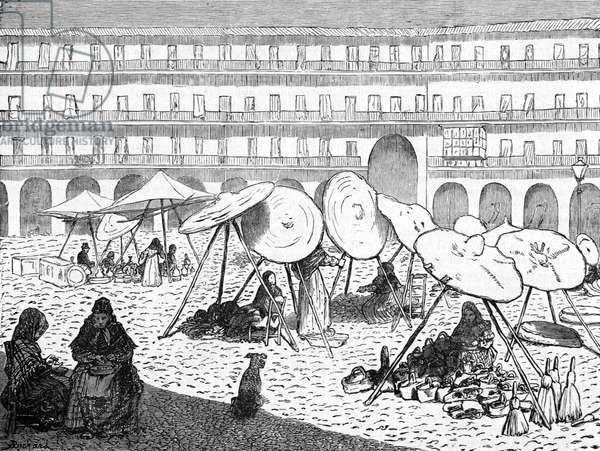 Market Place Coroba Andalusia Spain, 1880 (engraving)