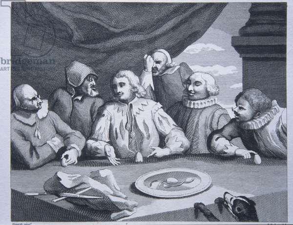 Columbus breaking the Egg, engraving by Hogarth, 1752