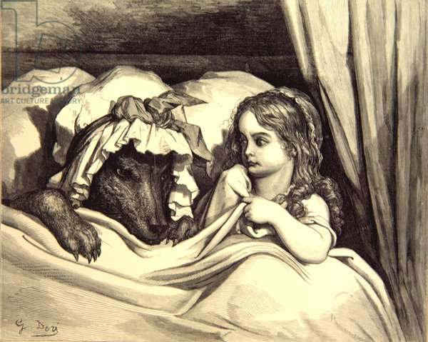 Little Red Riding Hood, the disguised wolf, Gustave Dore, 1862.