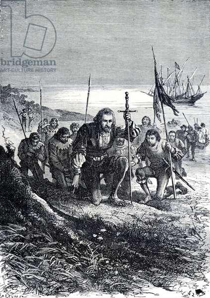 Christopher Columbus Lands in America, 1881 (engraving)