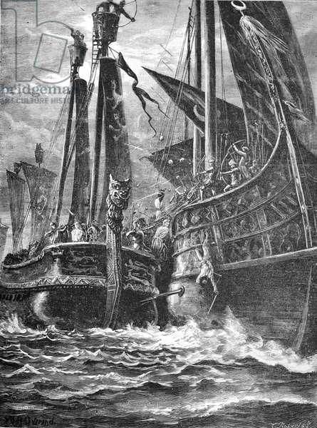 Crusaders & Arabs Naval Battle During the Crusades, 1885 (engraving)