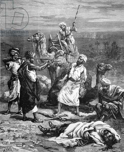 Assasination of French Explorer Charles Huber at Rabigh near Jeddah Saudi Arabia, 1885 (engraving)
