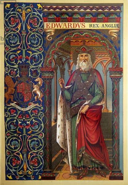 Edward the Confessor 19th c. lithograph, England