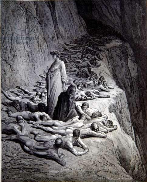 Dante's Purgatorio- Purgatory. Dante and Pope Adrian V Engraving by Gustav Dore, 1868.