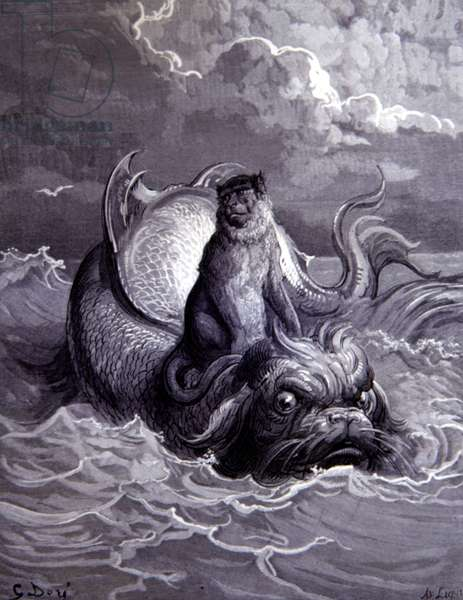 The Monkey & the Dolphin, Fontaine's Fables, by Ggustave Dore.