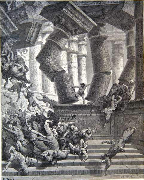 Death of Samson. Engraving. Dore Bible. 1866