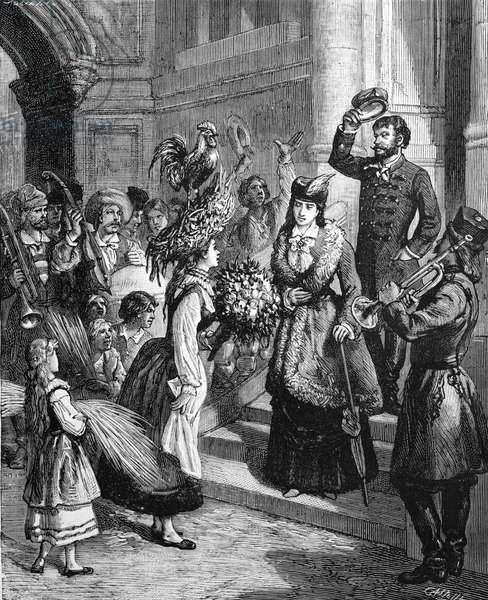 Polish Harvest Festival. A Signing Cock Presages a Good Harvest, 1884 (engraving)