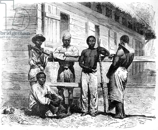 Malagasy or Madagascar People in Tamatave Madagascar, 1886 (engraving)