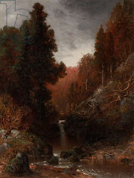 Landscape with Waterfall (oil on canvas)
