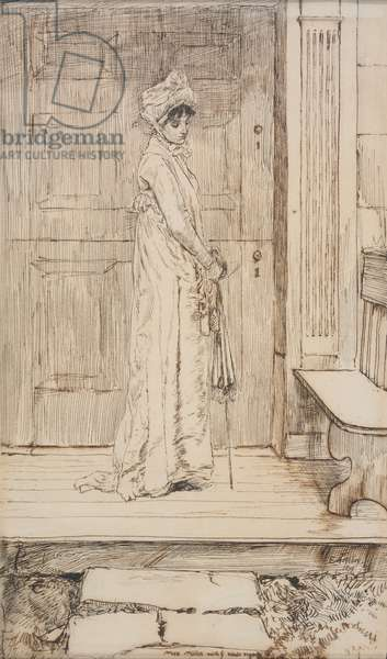 At the Doorway, 1879 (pen & ink on paper)