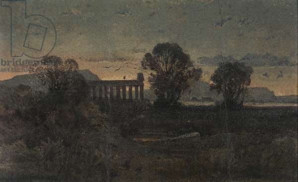 Landscape with Ruins, 1852 (w/c & varnish on cream wove paper)