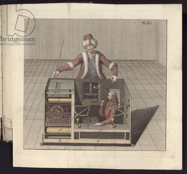 Plate III, 'Uber den Schachspieler des Herrn von Kempelen und dessen Nachbildung', Leipzig und Dresden: Joh. Gottl. Breitkopf, 1789 (coloured engraving)