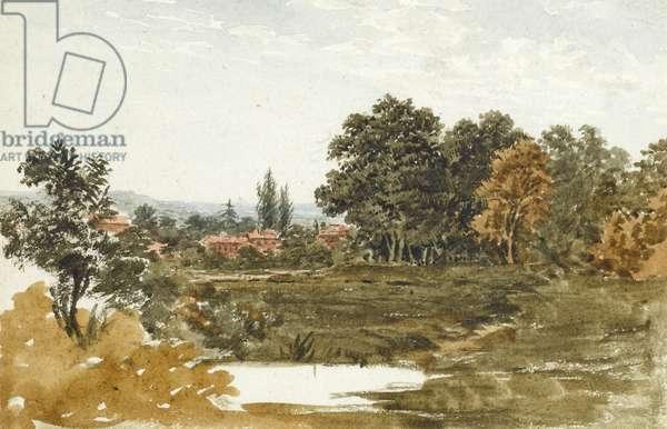 Rural landscape, probably near Hampstead (w/c on paper)