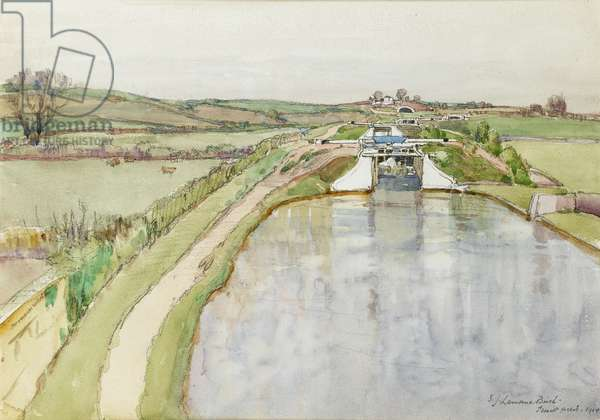 The lochs at Iswilt field on the Lancaster and Kendal Canal, 1914 (w/c on paper)