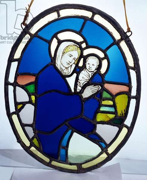Madonna and Child (stained glass roundel)