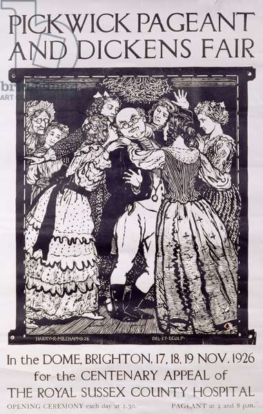 Poster advertising the 'Pickwick Pageant and Dickens Fair' at the Dome Theatre, Brighton for the centenary appeal of the Royal Sussex County Hospital, 1926 (linocut)