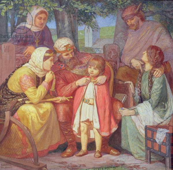 Alfred presents a royal cloak and sword to his grandson Athelstan, c.1909 (tempera on card)
