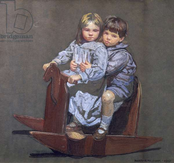 Faith and Christopher (the artist's children), 1910 (oil on paper)