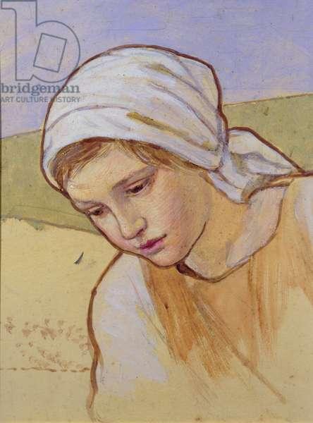 Head of a Girl, c.1930 (w/c on card)