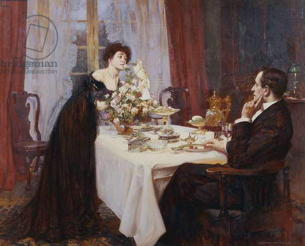 """The Anniversary, """"I love thee to the level of everyday's most quiet need"""" - Elizabeth Barrett Browning, 1909 (oil on canvas)"""
