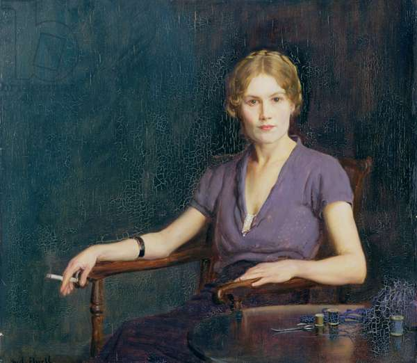 Girl with a Cigarette, 1942 (oil on panel)