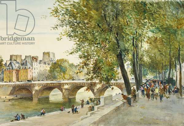 The Pont Neuf, Paris, c.1950-52 (w/c on paper)