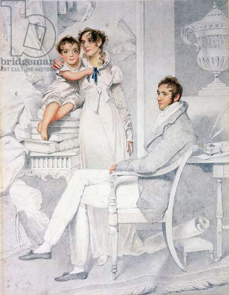 Mr and Mrs Richmond Thackeray and their son, William Makepeace Thackeray (1811-63) 1814 (pencil & w/c on paper)