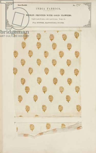 Muslin sample printed with gold flowers from Jeypore in Rajpootana States, from 'The Collection of the Textile Manufacturers of India', by John Forbes Watson, published in 1866 (mixed media)