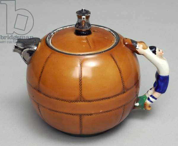 Commemorative teapot celebrating Preston North End's FA Cup win, 1938 (ceramic)