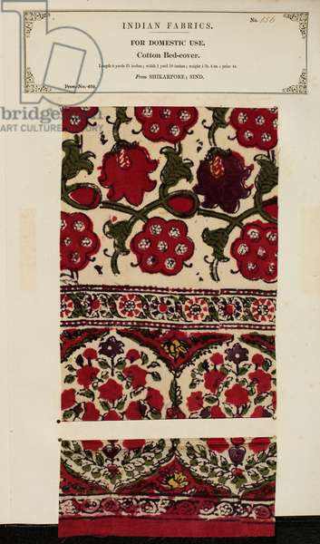 Cotton ned-cover sample from Shikarpore in Sind, from 'The Collection of the Textile Manufacturers of India', by John Forbes Watson, published in 1866 (mixed media)