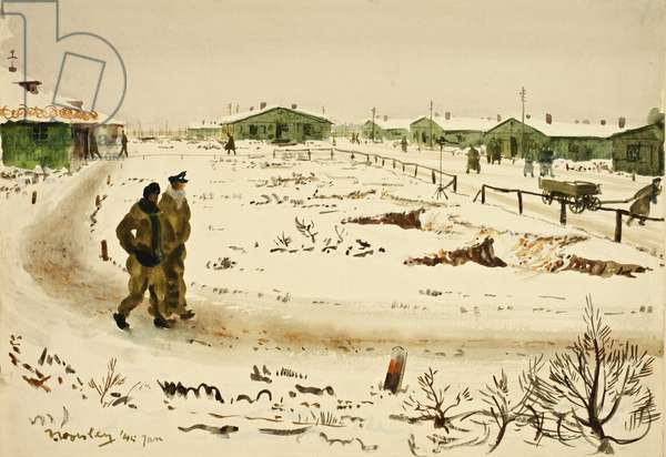 Marlag 'O' in Winter, 1945 (w/c on paper)