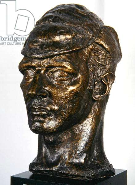 Self Portrait in a Storm Cap, 1916 (bronze)