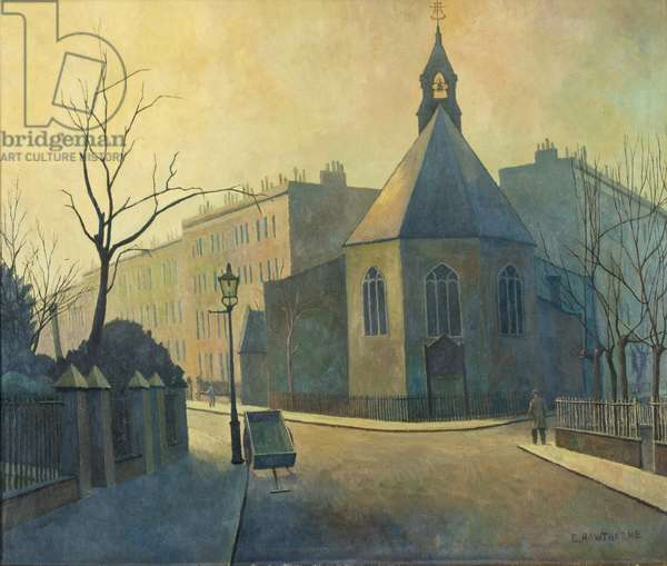 Street Scene, St. John the Baptist's Church, North London, 1934 (oil on canvas)