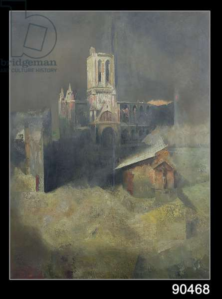 Bombed Cathedral, from the D-Day triptych, 1944 (oil on panel) (see also 86633 & 86634)
