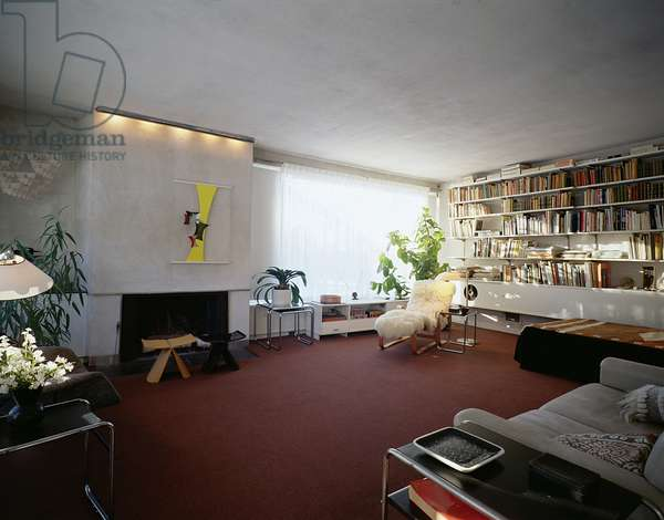 View of the Living Room of Gropius House in Lincoln, Massachusetts, built in 1938 (photo)
