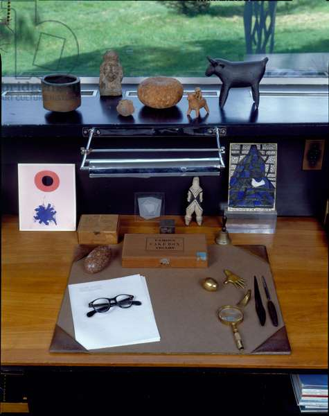 Detail of Desk Top of Walter Gropius, Gropius House in Lincoln, Massachusetts, built in 1938 (photo)