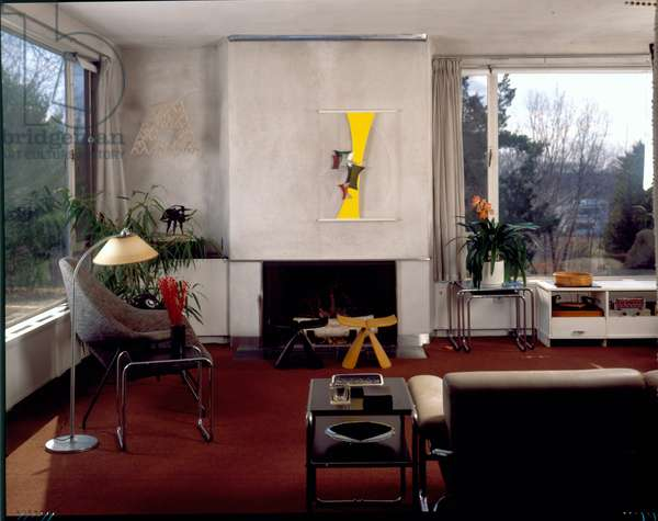 View of the Fireplace in the Living Room, Gropius House in Lincoln, Massachusetts, built in 1938 (photo)