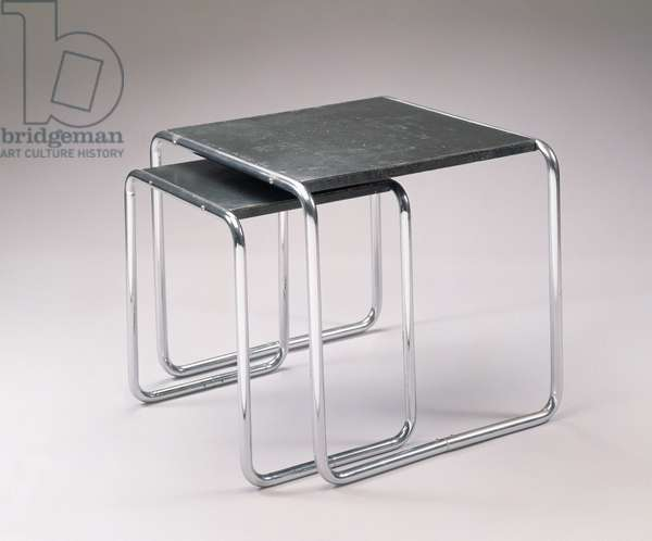 Nesting tables, manufactured by Thonet, from Boppard, Germany, 1927 (tubular steel, linoleum & wood)