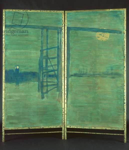Blue and Silver: Screen, with Old Battersea Bridge, 1871-72 (distemper & gold paint on paper)