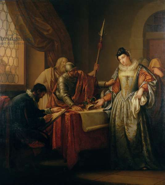 The Abdication of Mary Queen of Scots (1542-87) in 1568, c.1765-73 (oil on canvas)