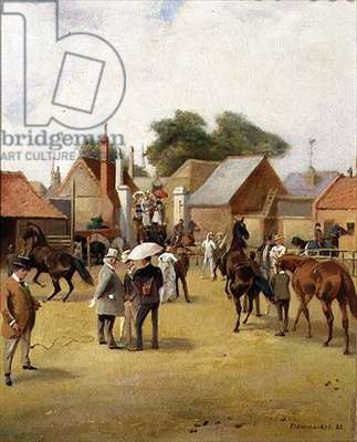 In the Paddock at Newmarket, 1988 (oil on canvas)
