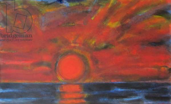 Houston - Dark Sunset over the Sea (w/c on paper)