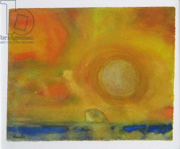 Bass Rock Summer Sun (w/c on paper)