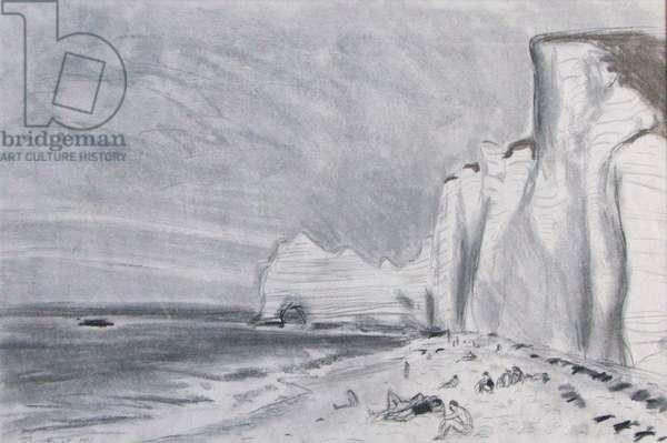 Cliffs at Etretat, 1986 (pencil & pastel)