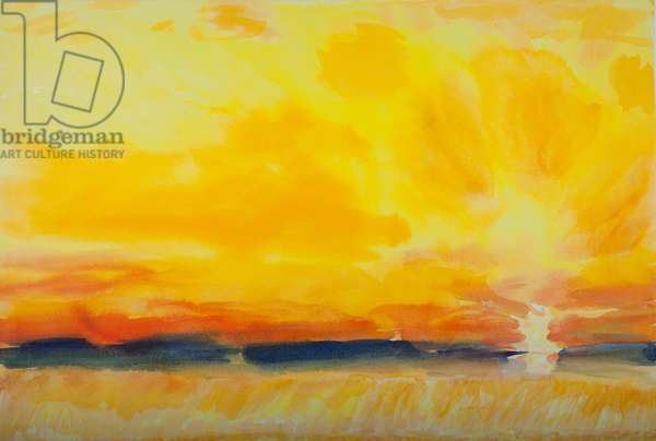 Houston - Golden Sky and Fields (w/c on paper)