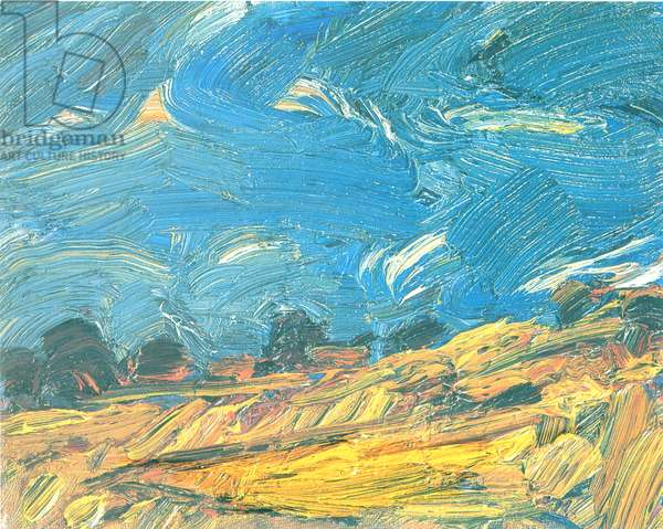 Cornfields, Fife, 2002-03 (oil on canvas board)