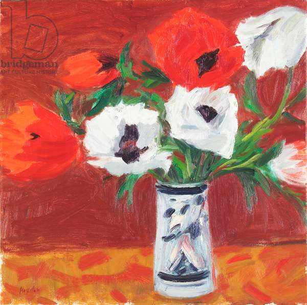 Red & White Poppies, 1987 (oil on canvas)