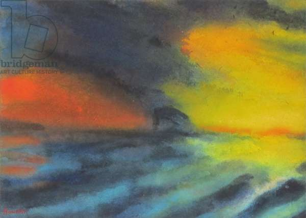 Stormy Sunset & Bass Rock (w/c on paper)